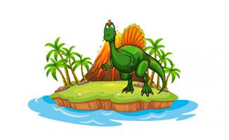 小岛恐龙火山矢量设计图