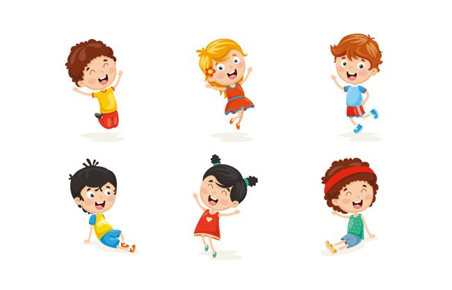 可爱小孩形象设计素材   阳光美丽少年小女孩卡通形象素材设计图片