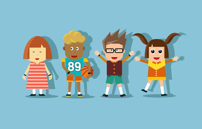 创意卡通儿童小孩形象设计素材  扁平儿童卡通形象矢量设计素材