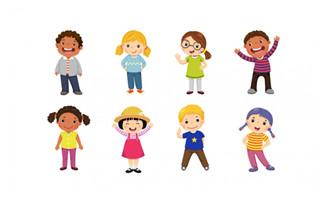 彩色小孩设计元素插画元