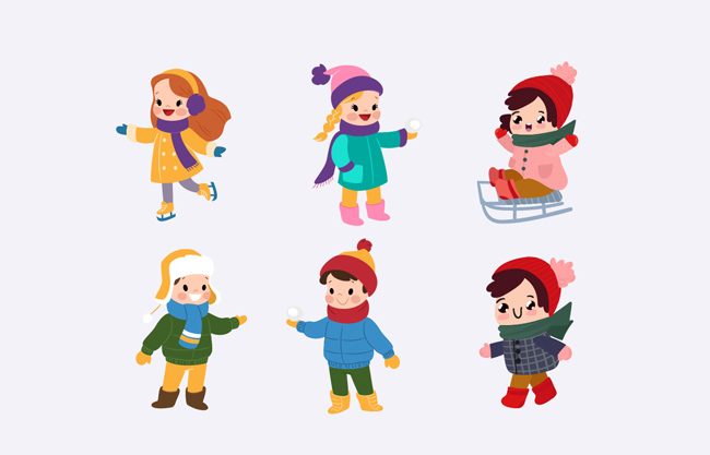 扁平化卡通可爱小孩设计素材   冬日玩耍创意孩子素材  美丽漂亮图片
