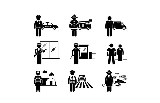 扁平化黑色剪影警察 消防 守卫 门卫  保安  交警 铁路警察元素素材