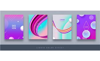 紫色背景上创意几何体造型图案设计