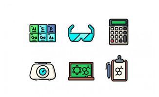 教学元素矢量图标设计