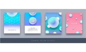 淡蓝色调画册模板设计素材
