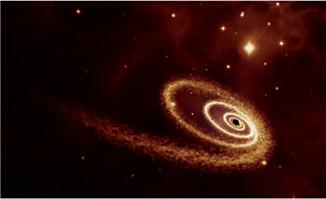 宇宙空间中粒子动画绘制了黑洞效果素材