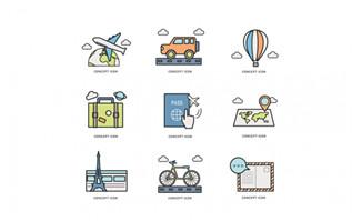 旅游描线矢量元素图标设