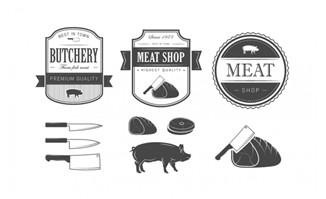 绿色猪肉图标设计