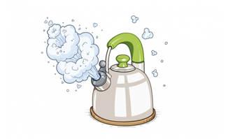 烧水壶冒热气手绘素材造