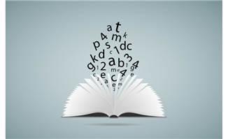 敞开的书本与字母矢量素