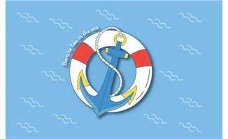 矢量船锚和救生圈素材图