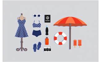 度假沙滩必需品矢量素材