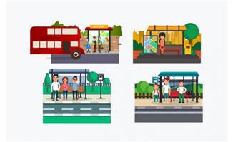 公交站元素背景素材矢量