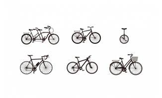 黑色扁平化自行车复古设