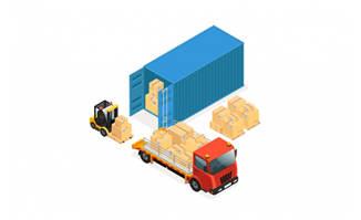 货运物流集装箱货车矢量