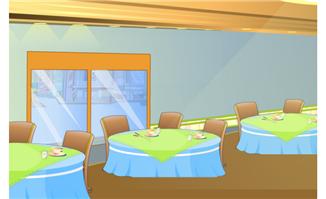 酒店餐桌flash卡通场景矢量