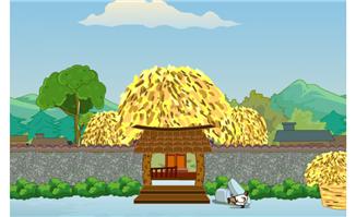 农村谷堆小院树木卡通动