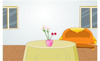 圆桌沙发元素室内场景素材下载