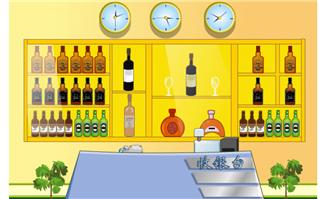 收银台酒水柜flash动画场景素材下载