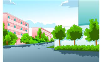房屋建筑道路绿化场景素材矢量设计