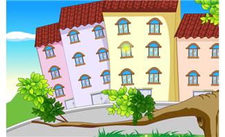 卡通房屋建筑道路绿化元素场景素材设计下载