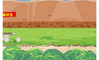 公园草地围墙石桌元素卡通场景素材设计