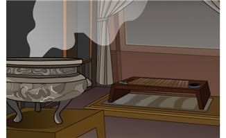 古代室内香炉笔墨砚台卡通矢量场景素材下载