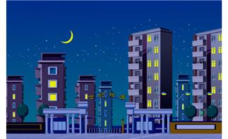 夜晚社区场景建筑卡通矢量素材下载