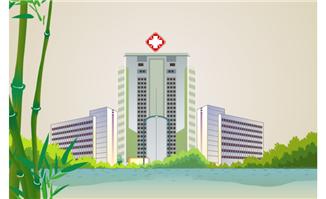 医院楼房建筑绿化场景flash素材设计下载