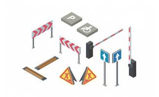 交通标志2.5d立体感图标造