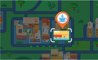 手机APP地图上定位咖啡馆的位置动画