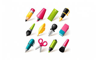 卡通写字工具矢量素材