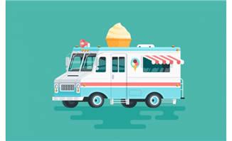 扁平化卡通冰淇淋快餐车矢量素材