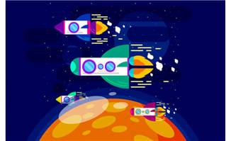 太空飞船火箭元素扁平化矢量素材设计