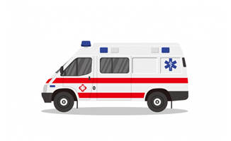 医疗救护车扁平化设计素材