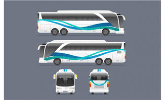 创意巴士正面和侧面矢量
