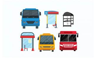 创意彩色公交和站台素材下载