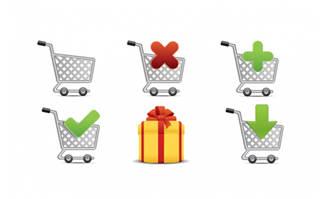 金属质感购物车元素图标设计素材
