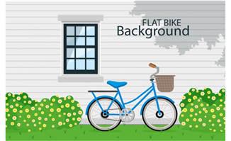 创意靠在窗边的单车矢量