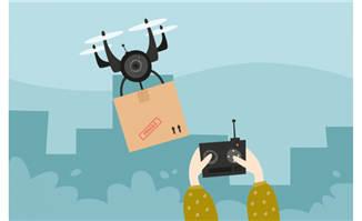 无人机运输包裹场景矢量素材下载