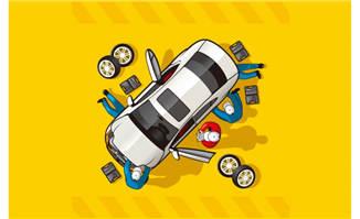 创意维修车辆人物俯视图矢量素材