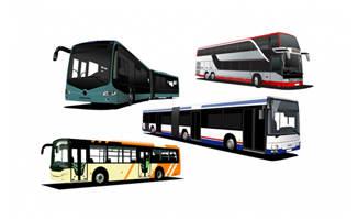立体卡通大巴公交车矢量设计素材