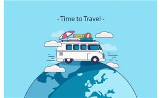 地球仪上的小客车旅游配图矢量素材