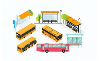 黄色彩色卡通的公交相关