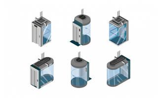6款观光电梯造型图标设计