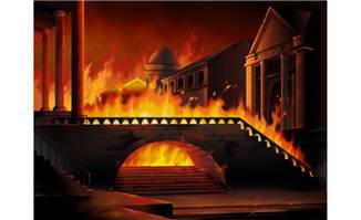 着火后的古城堡动画手绘