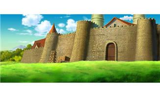 手绘动画城堡外墙场景素