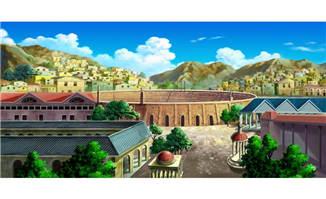 古代建筑运动馆外景ps手绘