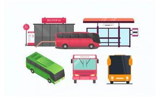 扁平化公交站台设计AI素材