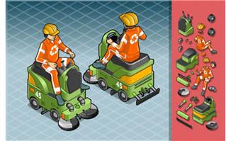 矢量精致立体环保清洁车素材设计